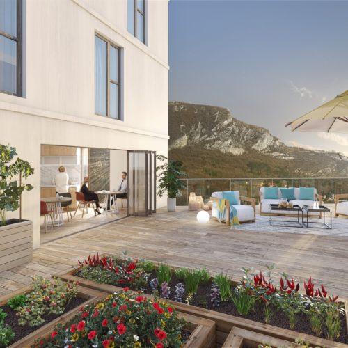 Terrasse commune de GINKGO Grenoble EDIFIM